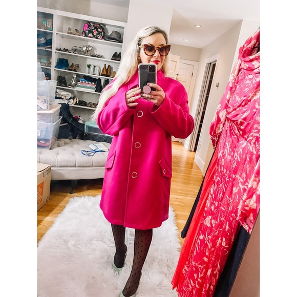 NEW Love Moschino Cashmere Wool Coat hot pink L